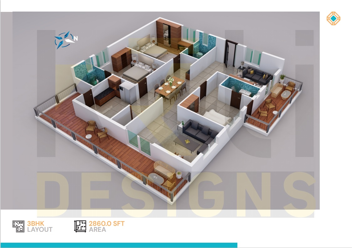 West Facing 3BHK - 2860 Sft