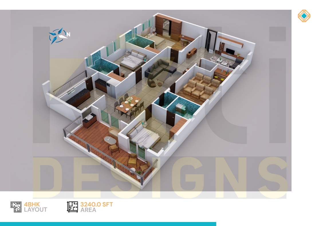 West Facing 3BHK - 3240 Sft