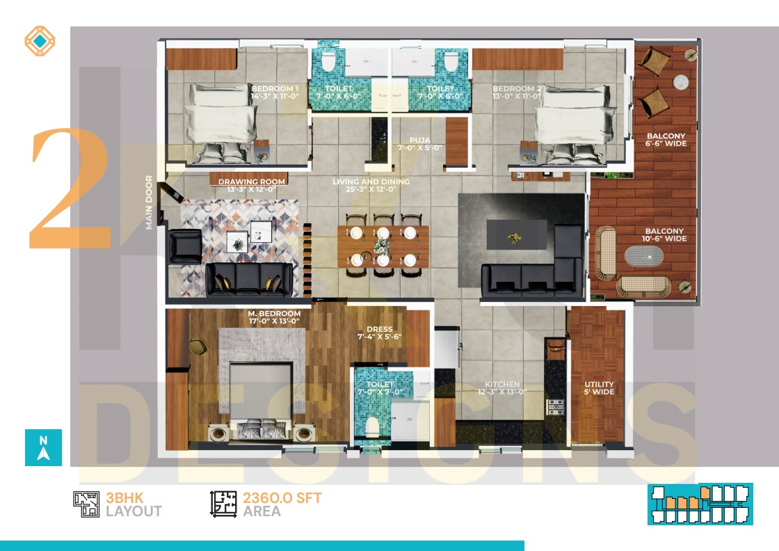West Facing 3BHK - 2360 Sft