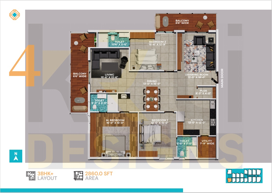East Facing 3BHK - 2860 Sft