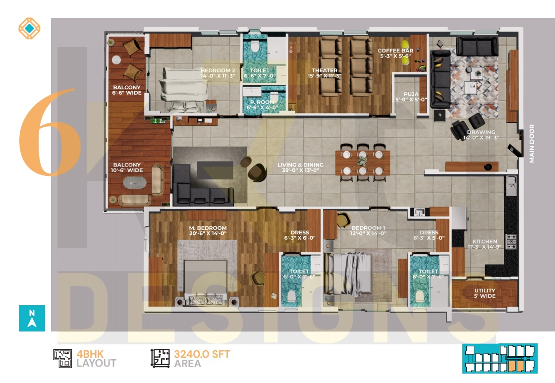 East Facing 3BHK - 3240 Sft