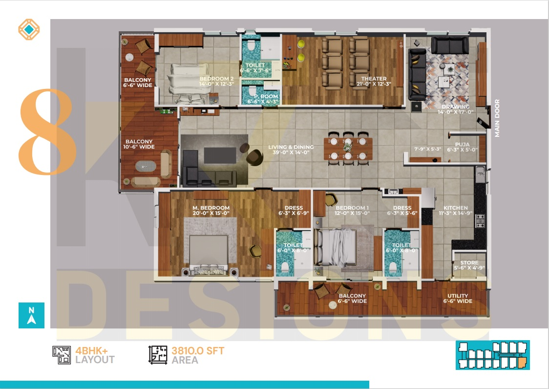 East Facing 3BHK - 3810 Sft